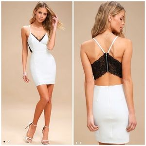 Lulu's white and black Bodycon Dress